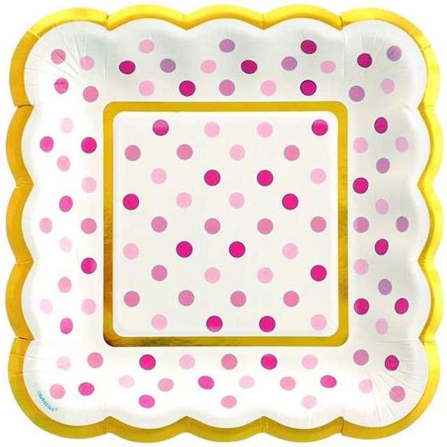 "Talerzyki papierowe ""Pink Dots"", AMSCAN, 14 cm, 36 szt"