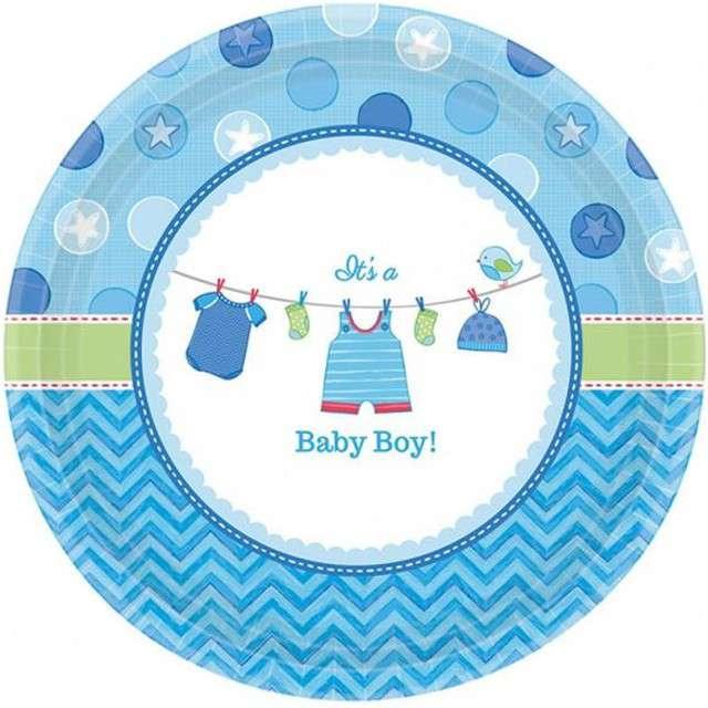 """Talerzyki papierowe """"Baby Shower - Boy"""", AMSCAN, 18 cm, 8 szt"""