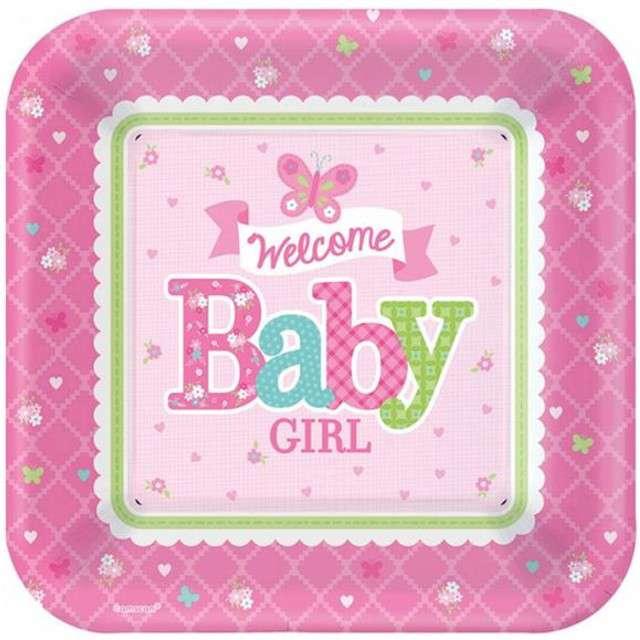 """Talerzyki papierowe """"Welcome Baby Girl"""", AMSCAN, 27 cm, 8 szt"""