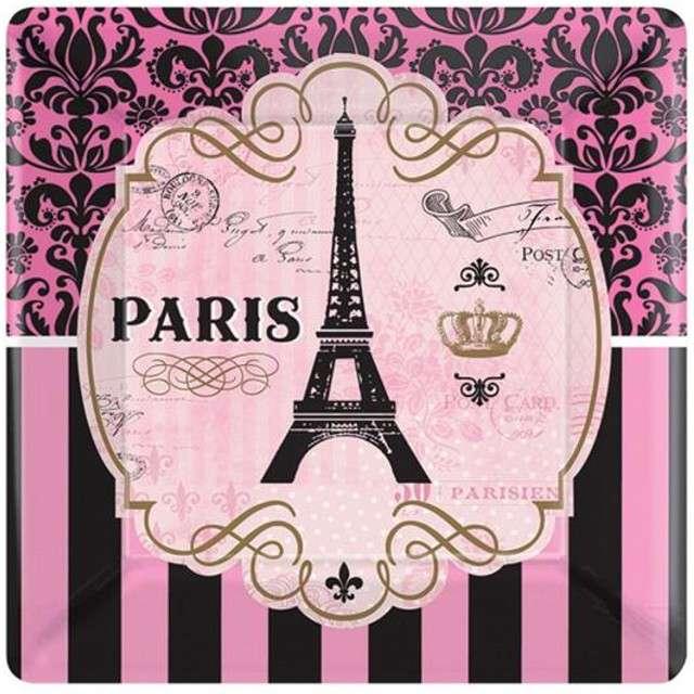 """Talerzyki papierowe """"A Day In Paris"""", AMSCAN, 18 cm, 8 szt"""