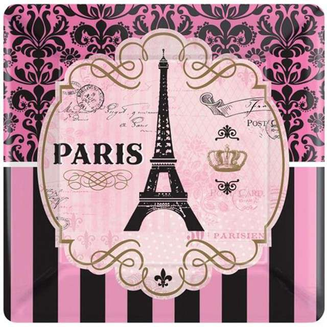 """Talerzyki papierowe """"A Day In Paris"""", AMSCAN, 25 cm, 8 szt"""