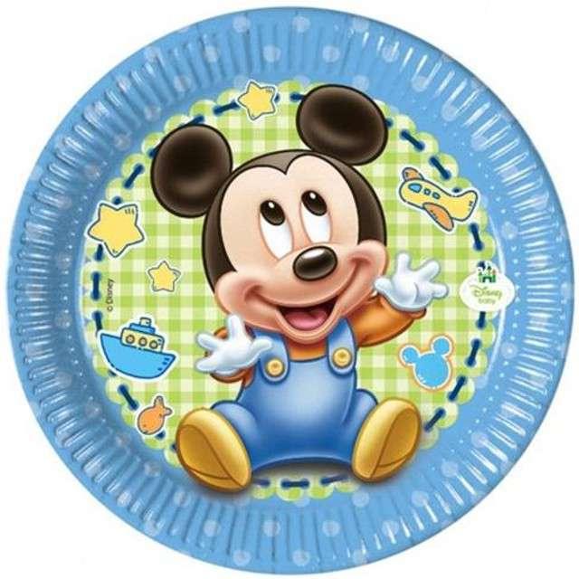 """Talerzyki papierowe """"Mickey Baby"""", Procos, 20 cm, 8 szt."""