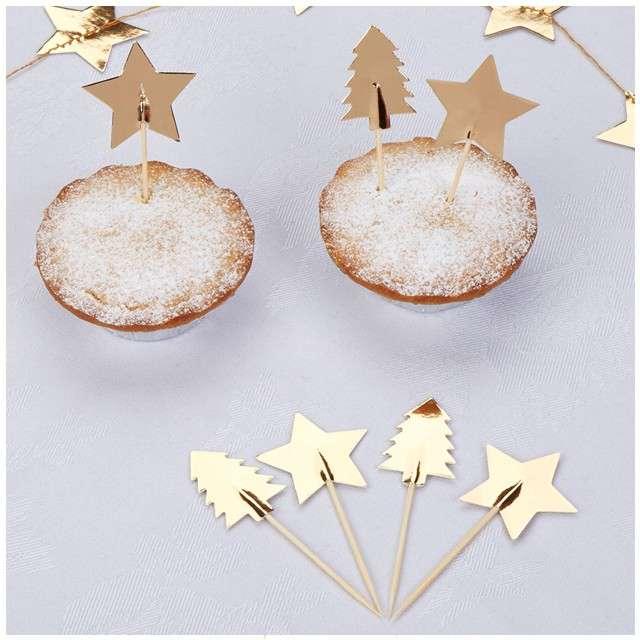 Szpilki drewniane Dazzling Christmas NEVITI 20 szt