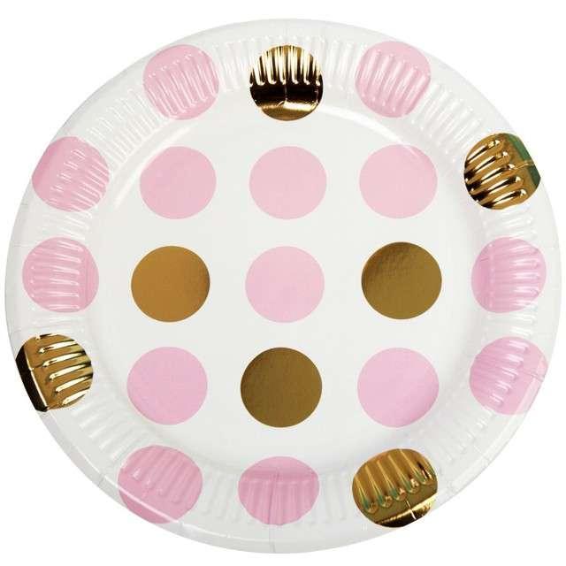 "Talerzyki papierowe ""Pattern Works - Plate Pink Dots"", Neviti, 23 cm, 8 szt"