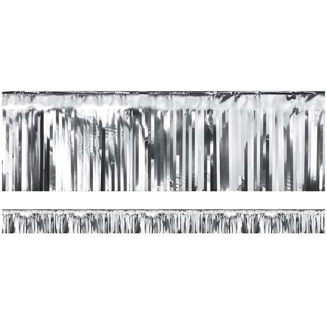 """Girlanda """"Frędzle Lameta"""", PartyDeco, srebrna, 400 x 18,5 cm"""