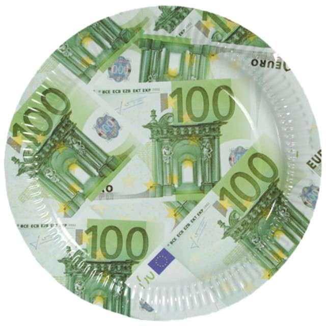 """Talerzyki papierowe """"100 EURO"""", OOTB, 23 cm, 10 szt"""
