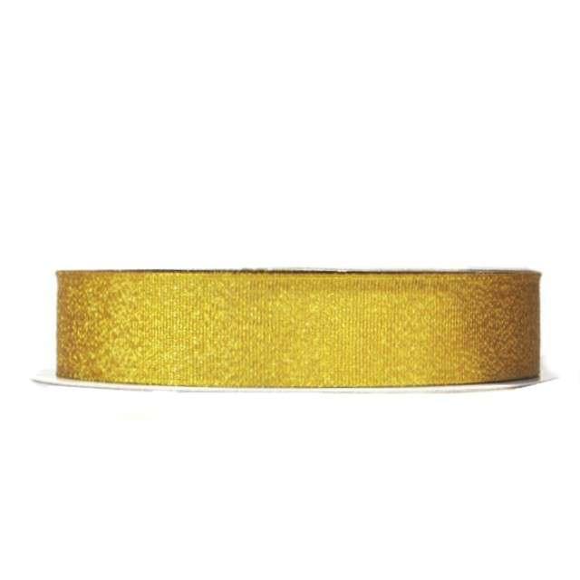 Tasiemka satynowa, złota brokatowa, 12 mm / 22 m