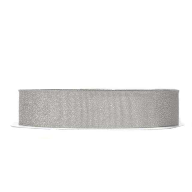 Tasiemka satynowa, srebrna brokatowa, 12 mm / 22 m