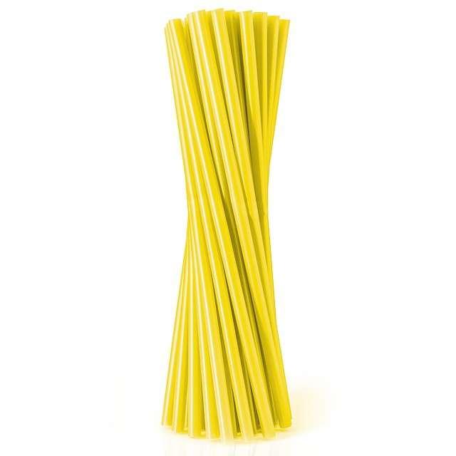 Słomki proste łamane 21 cm, żółte, 40 szt