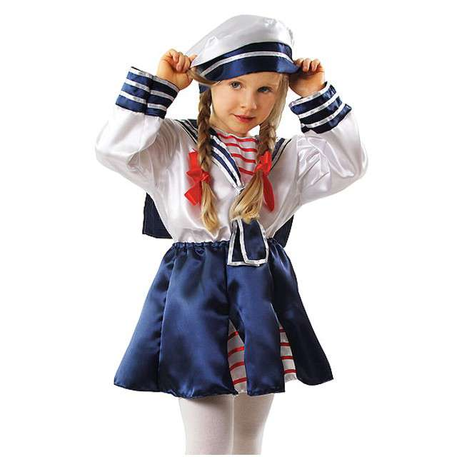 Strój dla dzieci Pani Marynarz biało-niebieski KRASZEK rozm. 98/104 cm