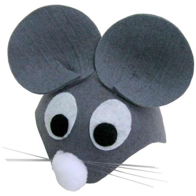 """Czapka """"Myszka z oczami"""", szara filcowa, Party Tino"""