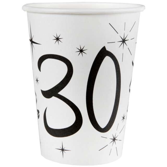 """Kubeczki papierowe """"30 White"""", SANTEX, 250 ml, 10 szt"""