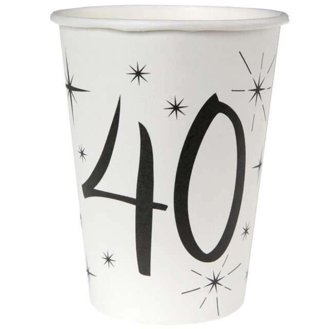 """Kubeczki papierowe """"40 White"""", SANTEX, 250 ml, 10 szt"""
