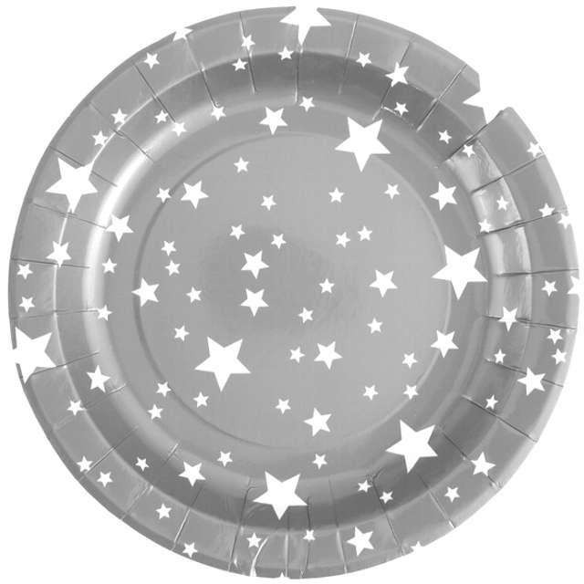 """Talerzyki papierowe """"Gwiazdki, srebrne"""", SANTEX, 23 cm, 10 szt"""