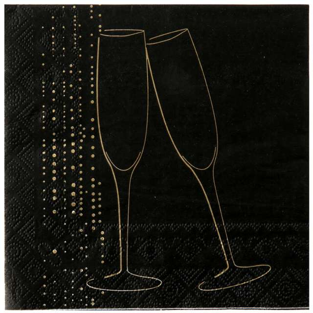 "Serwetki ""Szampański toast, czarne"", 33 cm, SANTEX, 20 szt"