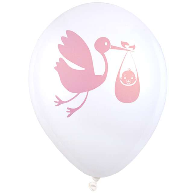 "Balony ""Baby Shower Pink"", biały, SANTEX, 9"", 8 szt"