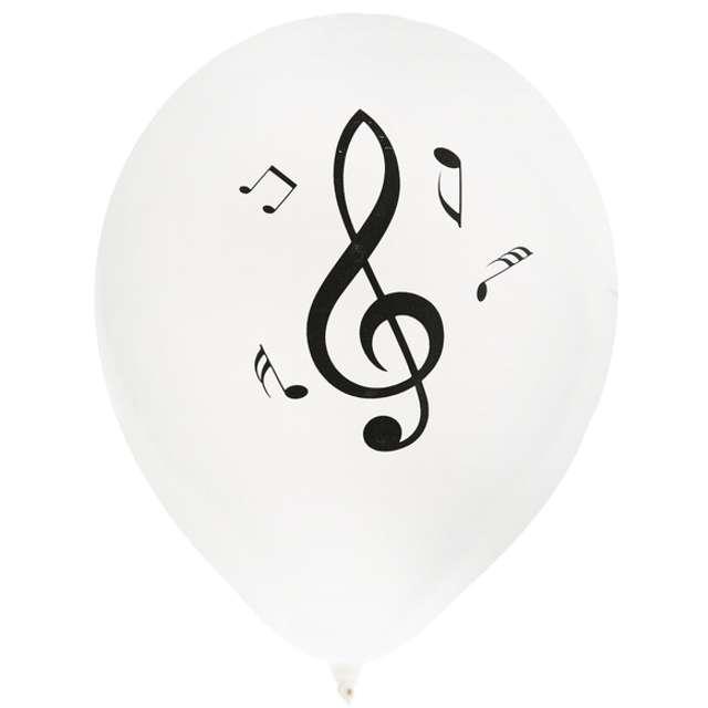 """Balony """"Muzyk i Nuty"""", biały, SANTEX, 9"""", 8 szt"""