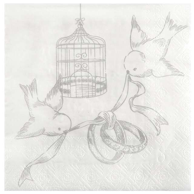 """Serwetki """"Gołąbki ślubne"""", 33 cm, SANTEX, 20 szt"""