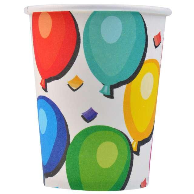 """Kubeczki papierowe """"Kolorowe Balony"""", biały, 200 ml, 8 szt"""