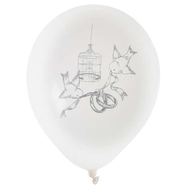 """Balony """"Gołąbki Ślubne"""", biały, SANTEX, 9"""", 8 szt"""