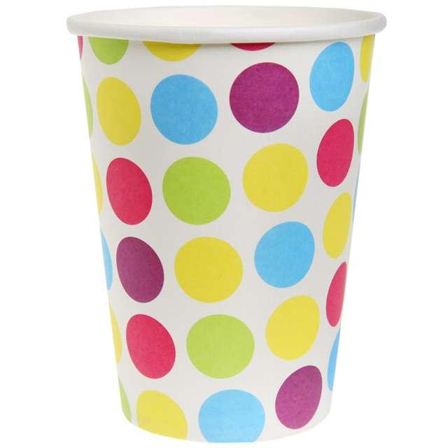 """Kubeczki papierowe """"Kolorowe Kropki"""", SANTEX, 250 ml, 10 szt"""
