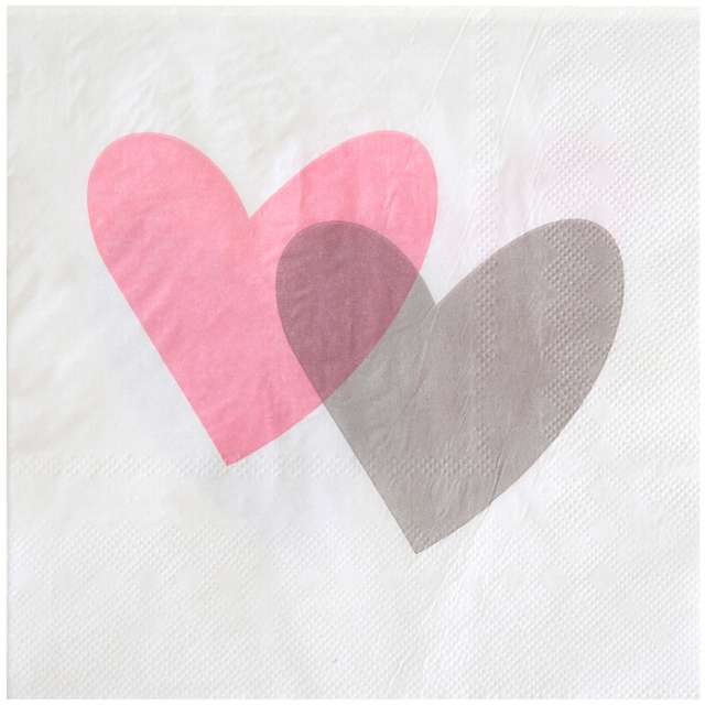 """Serwetki """"Dwa serca, różowe"""", 33 cm, SANTEX, 20 szt"""