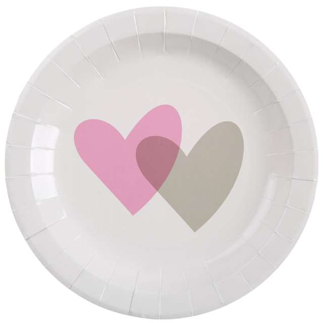 """Talerzyki papierowe """"Dwa serca, różowe"""", SANTEX, 23 cm, 10 szt"""