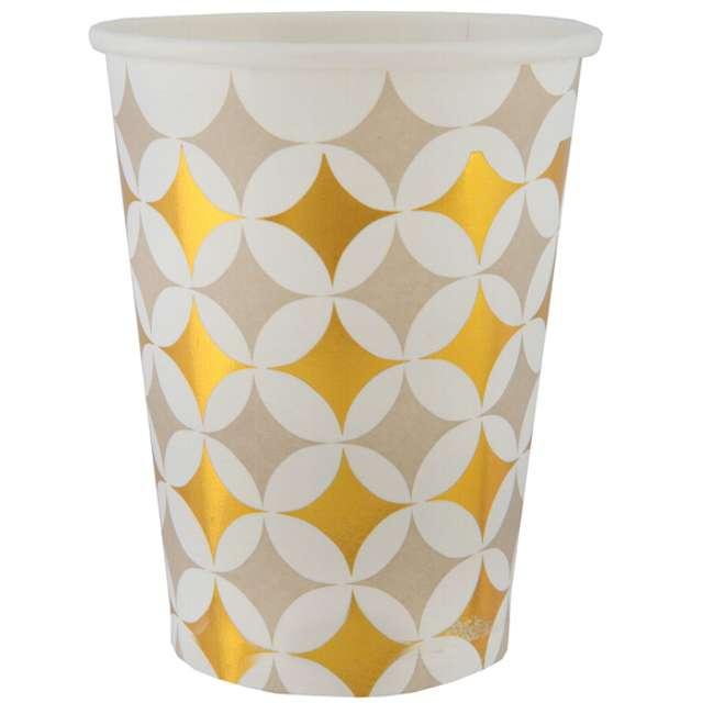 "Kubeczki papierowe ""Cement tile, złote"", SANTEX, 250 ml, 10 szt"