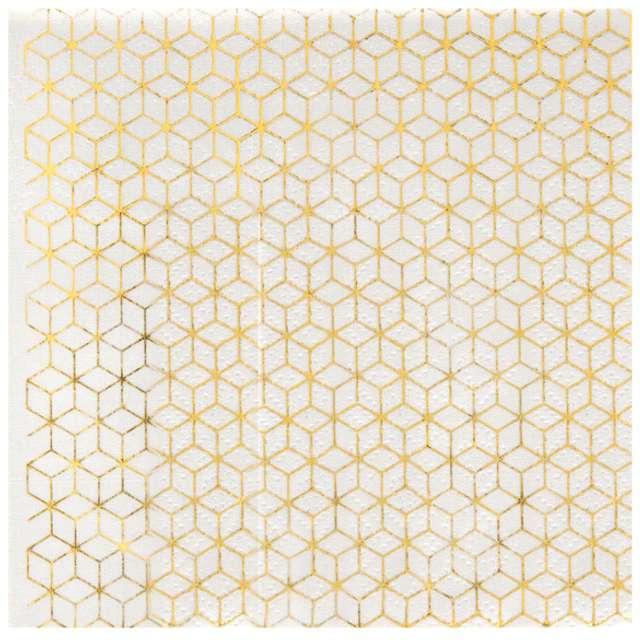 "Serwetki ""Cement Tile, biało - złote"", 25 cm, SANTEX, 20 szt"