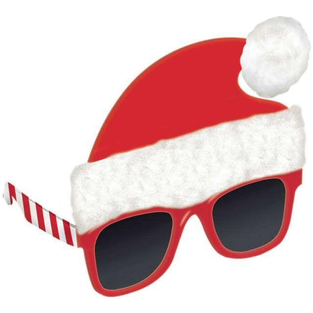 """Okulary party """"Święty Mikołaj w czapce"""", AMSCAN"""