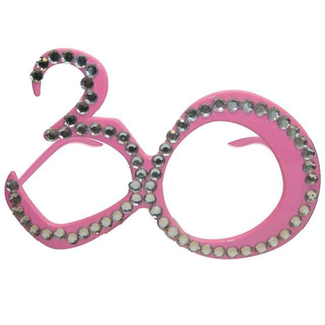 """Okulary party """"30 urodziny - Diamentowa Ramka"""", różowe, FOLAT"""