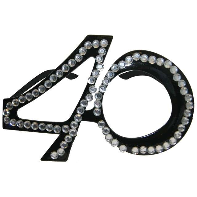 """Okulary party """"40 urodziny - Diamentowa Ramka"""", czarne, FOLAT"""