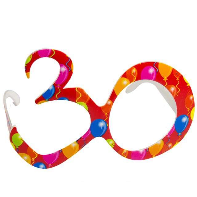 """Okulary party """"30 urodziny - Balony"""", czerwone, FOLAT"""