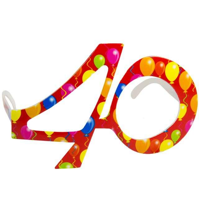 """Okulary party """"40 urodziny - Balony"""", czerwone, FOLAT"""