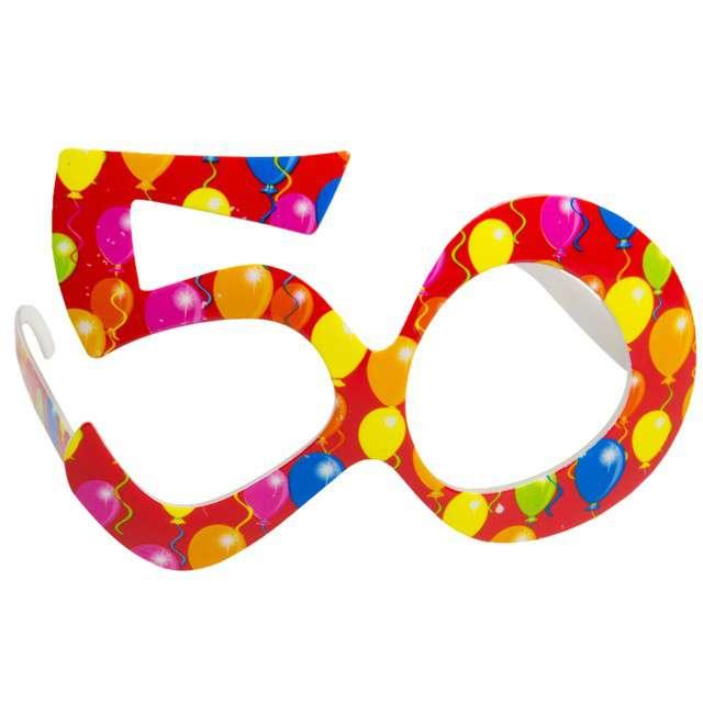 """Okulary party """"50 urodziny - Balony"""", czerwone, FOLAT"""