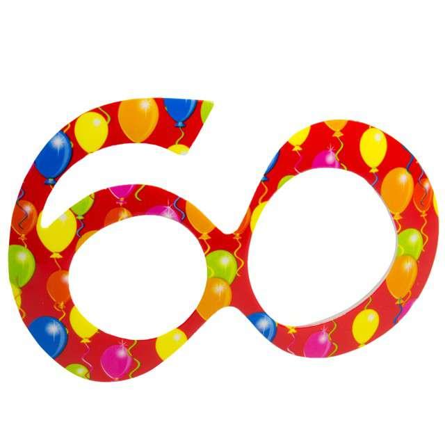 """Okulary party """"60 urodziny - Balony"""", czerwone, FOLAT"""