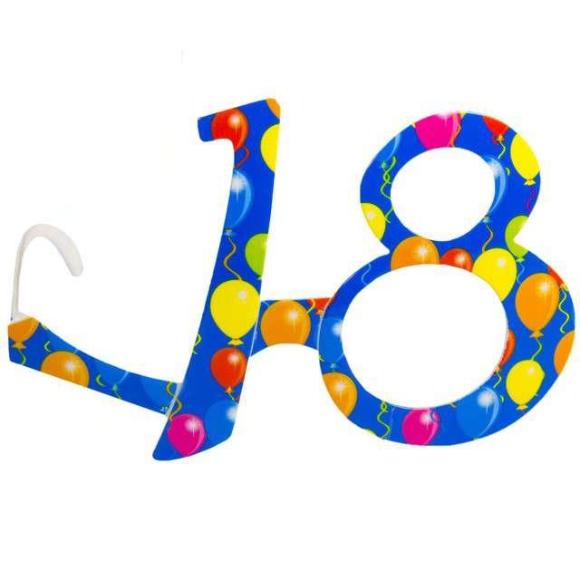 """Okulary party """"18 urodziny - Balony"""", niebieskie, FOLAT"""