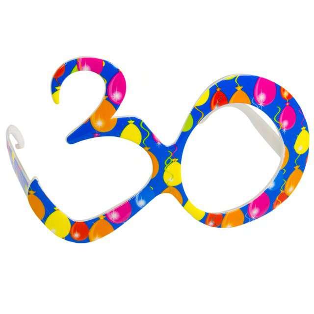 """Okulary party """"30 urodziny - Balony"""", niebieskie, FOLAT"""