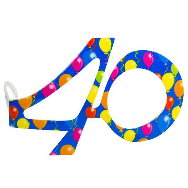 """Okulary party """"40 urodziny - Balony"""", niebieskie, FOLAT"""