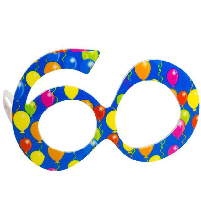"""Okulary party """"60 urodziny - Balony"""", niebieskie, FOLAT"""