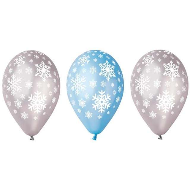 "Balony ""Płatki Śniegu"", metalik mix, GEMAR, 12"", 5 szt"