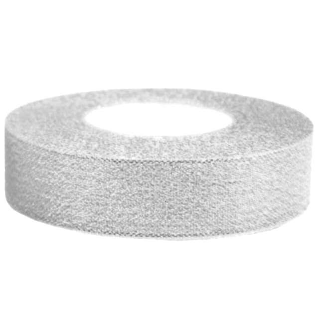 Tasiemka satynowa, srebrna brokatowa, 25 mm / 22 m