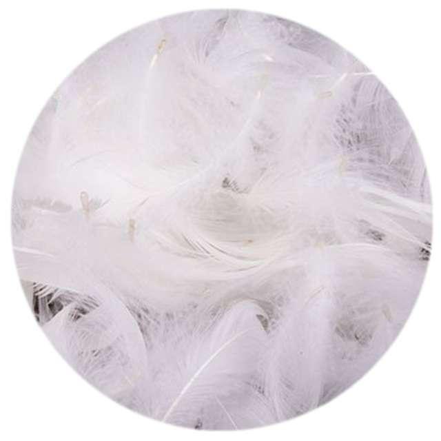 Piórka dekoracyjne, białe, woreczek