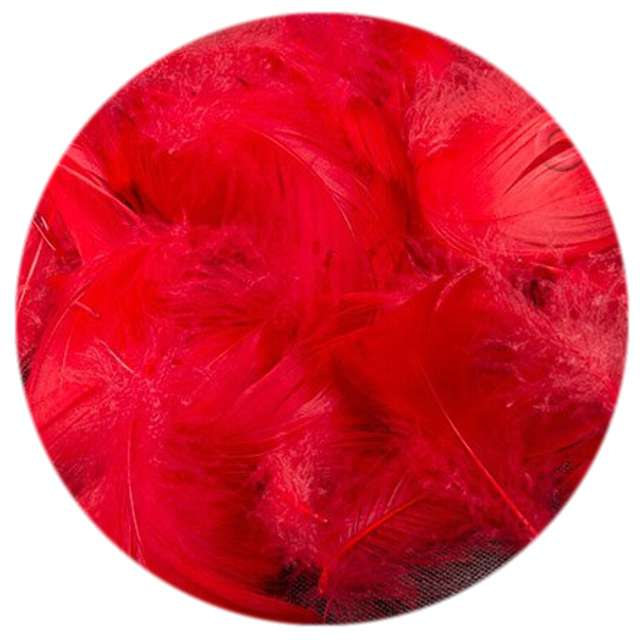 Piórka dekoracyjne, czerwone, woreczek