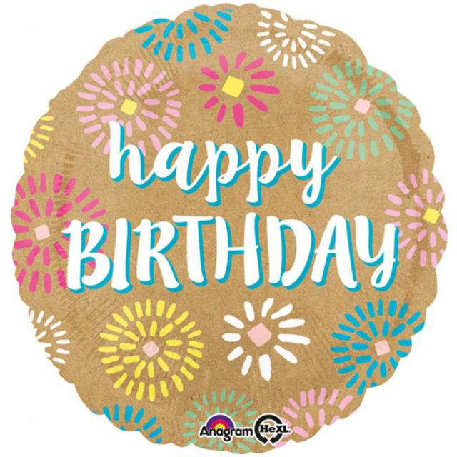 "Balon foliowy ""Kraft Happy Birthday"", brązowy, AMSCAN, 18"" RND"
