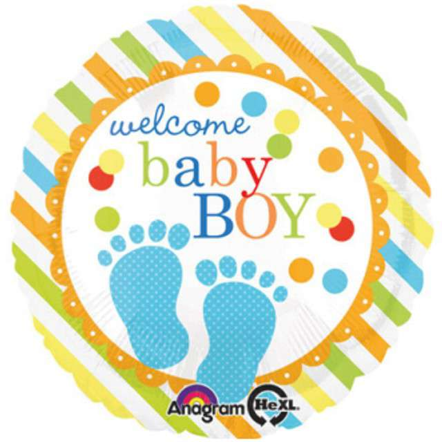 "Balon foliowy ""Baby Feet Boy"", AMSCAN, 17"" RND"