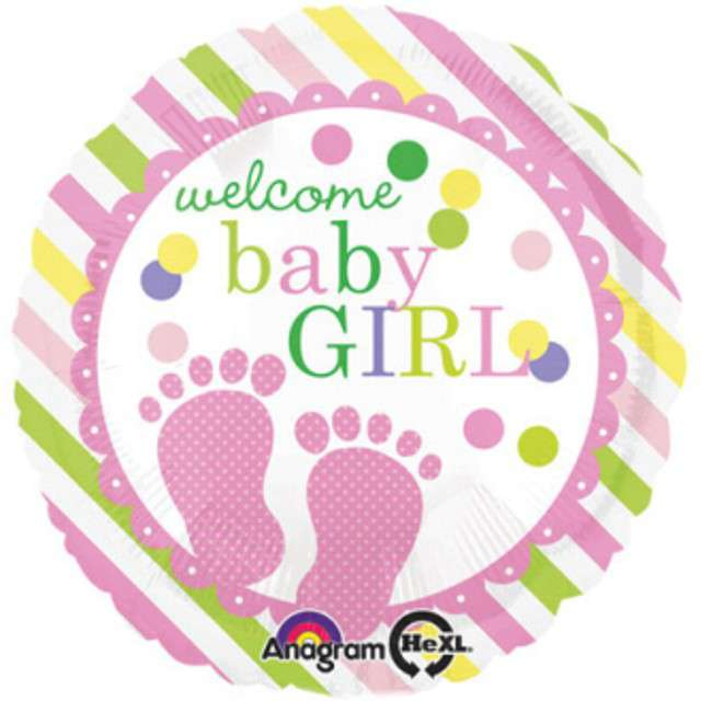 "Balon foliowy ""Baby Feet Girl"", AMSCAN, 17"" RND"