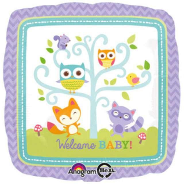 "Balon foliowy ""Welcome Baby"", AMSCAN, 17"" SQR"