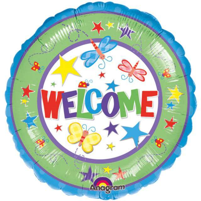 "Balon foliowy ""Welcome"", AMSCAN, 17"" RND"