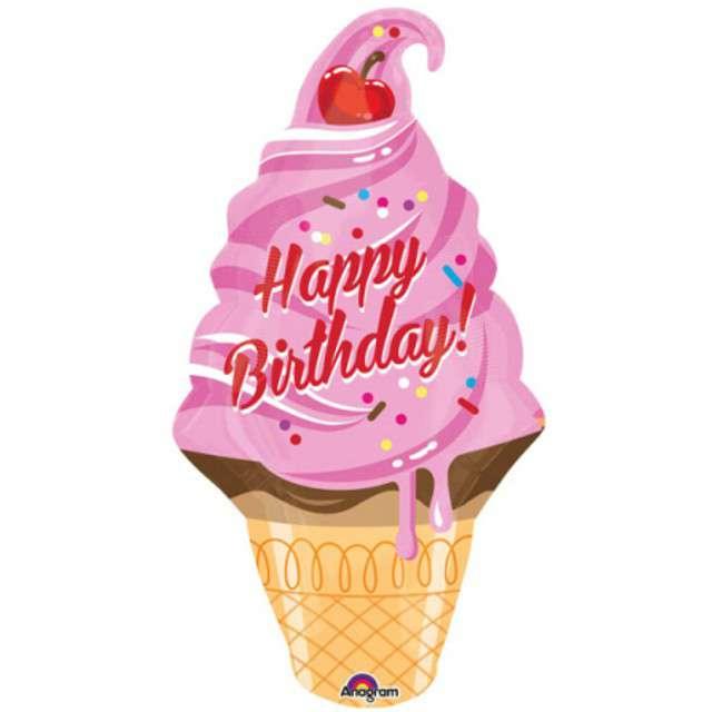"Balon foliowy ""Lody - Rożek Happy Birthday"", AMSCAN, 32"" SHP"